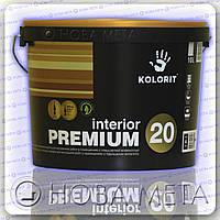 Краска INTERIOR PREMIUM 20  Kolorit для внутренних работ полуматовая гипоаллергенная А, 3 л.