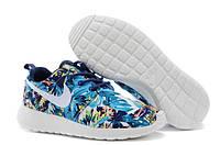 Женские кроссовки Nike Roshe Run Olimpic Blue цветной принт