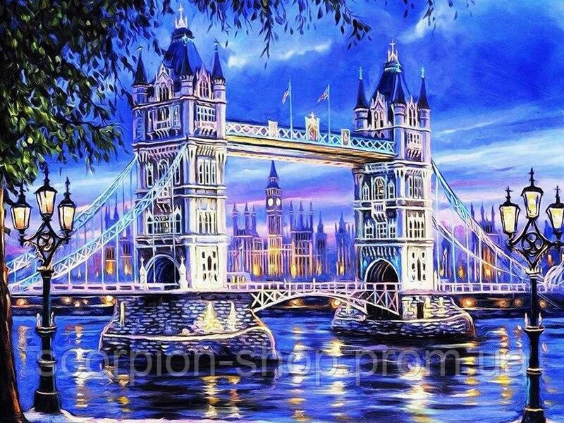 """Алмазная живопись картина """"Тауэрский мост"""" (40*30 см) Полная закладка"""