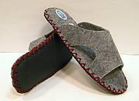 Тапочки мужские войлочные с бордовым шнурком