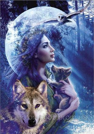 """Алмазная живопись картина """"Девушка и волк"""" (30*40 см) Полная закладка"""