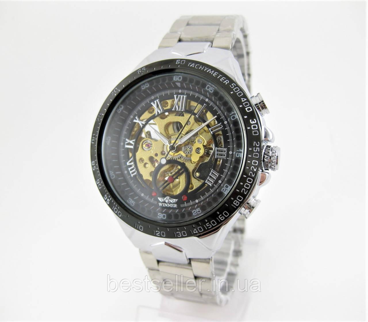 8e5c468a5e5c Часы Winner Skeleton Silver/Black 43mm (ORIGINAL).: Качественные копии  наручных часов для мужчин и ...