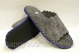 Тапочки из войлока женские с синим шнурком 38-39р