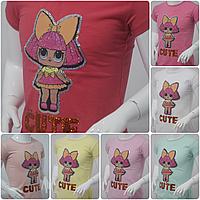 """Футболка детская для девочки 1-8 лет """"LOL CUTE"""",цвет уточняйте при заказе, фото 1"""
