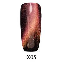 Гель-лак 3D Кошачий Глаз Galaxy X05 Красно-рыже-золотистый