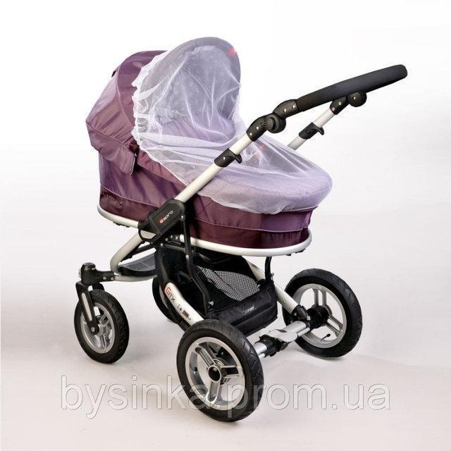 Универсальная москитная сетка 120х60 на детскую коляску люльку прогулку с резинкой по периметру 3966 Белый