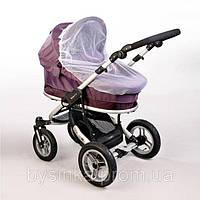 Универсальная москитная сетка 120х60 на детскую коляску люльку прогулку с резинкой по периметру 3966 Белый, фото 1