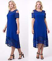 Ассиметричное платье женское больших размеров летнеесофт с гипюром, синее