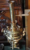 Труба на самовар середнього розм антикварна товстостінна латунна (ручка нова, дуб)