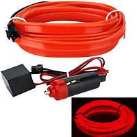 Гибкий неон cветопровод EL неоновая подсветка салона авто 5м, красная
