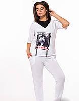 / Размер 48-50,52-54 / Женский легкий спортивный костюм - 29622 / цвет белый