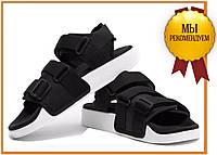Стильные женские сандалии Adidas Adilette 2.0 Black White (босоножки адидас адилетте, черные / белые) ХИТ 2019