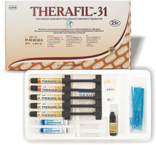 THERAFIL-31 (Терафил-31) композит светового отверждения набор 5 шприцов.