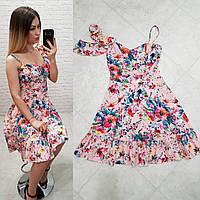 Платье асимметрия арт. 164 персиковое с маками, фото 1