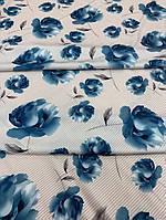 """Шёлк """"Армани"""" принт синие цветы"""