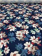 """Одежная ткань """"Yuliia"""" темно-синий цвет с принтом цветы, фото 1"""