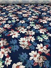 """Одежная ткань """"Yuliia"""" темно-синий цвет с принтом цветы"""