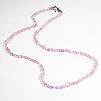 Бусы шнурок из розового кварца, Ø2,5 мм., 41 см., 619БСР