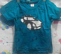 Футболка для мальчика синяя с машинкой - перевёртышем, 4-5 лет.