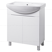 Тумба под раковину для ванной комнаты на ножках ВИСЛА Т1 (белая) с умывальником ИЗЕО 75