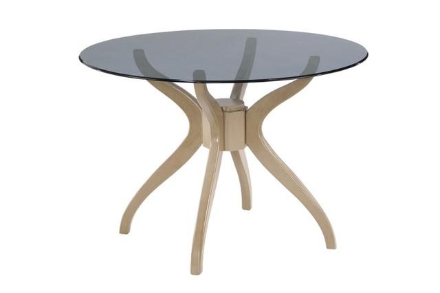 Стол из стекла и натурального дерева «Эдита»