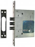 Замок для металлических дверей сувальдный USK 257L без накл.,без отв.,шлифованный никель