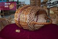 Овальная плетёная корзина с ручками без крышки из натуральной лозы для пикника