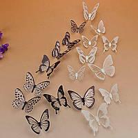 Бабочки - интерьерные наклейки черно - белые 18 штук. 3D бабочки на стену для декора.