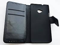 Чехол-книжка для HTC ONE M7, Кожаный, с отсеком для визиток, Черный /case/кейс /штс, фото 1