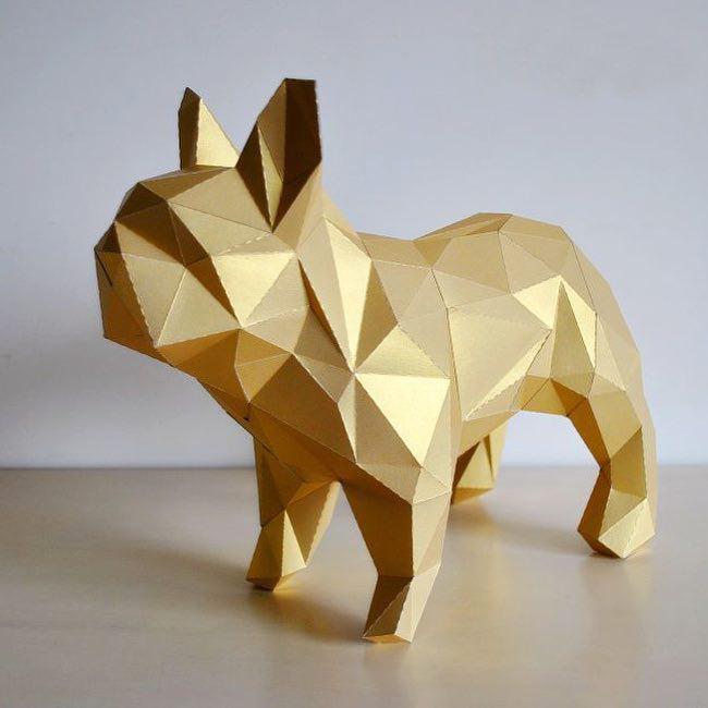 Papercraft Собака стоящая
