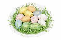 (Цена за 3шт) Яйца пасхальные в тарелке, высота яйца 3,8 см, диаметр тарелки 17,5 см; яйца 2,7 см, материал пенопласт/бумажная стружка, цвета ассорти,