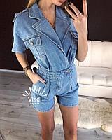 Джинсовый комбинезон женский шортами, стильный, обьемного стиля, 407-002, фото 1