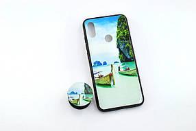 Чохол для телефону Xiaomi Redmi 7 Silicone Glass Print (M17) + popsocket