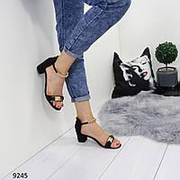 Красивые босоножки женские черные на не высоком каблуке с ремешком, размеры: 37, 38, 39, 40,  41