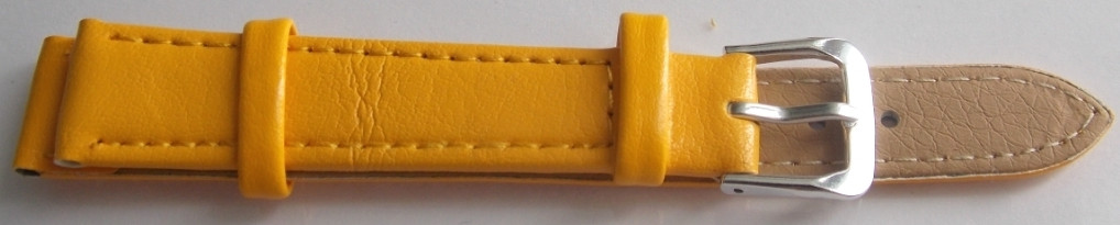 Ремешок кожаный LUX-PL (Польша) 14 мм, желтый
