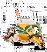 """Фарфоровая чайная пара """"Воробушек"""" (Pavone) FM- 01/ 5, фото 1"""
