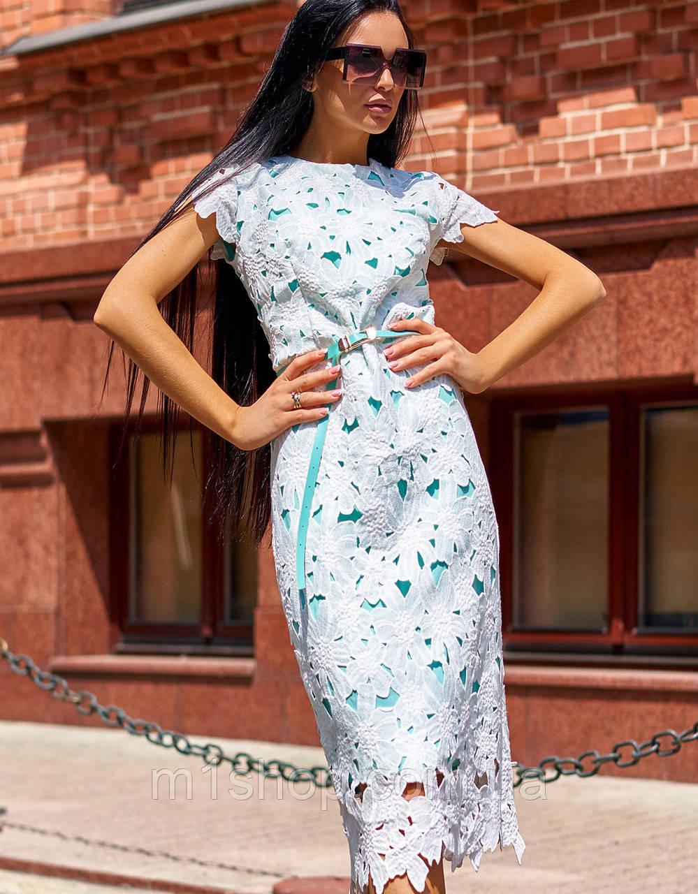 Необычное фактурное женское платье-футляр из прошвы и коттона (Лика jd)