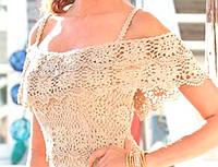 """Вязаная летняя блуза с пелериной и """"фестонами"""" ручной работы цвета слоновой кости"""