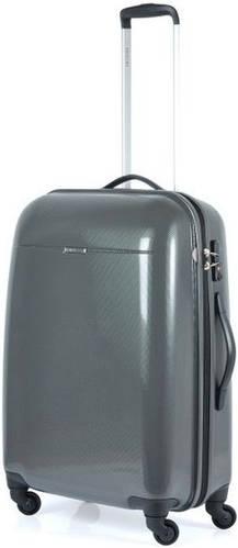 Серый, пластиковый, надежный чемодан 61 л. на 4-х колесах Puccini PС-005, 6832/5