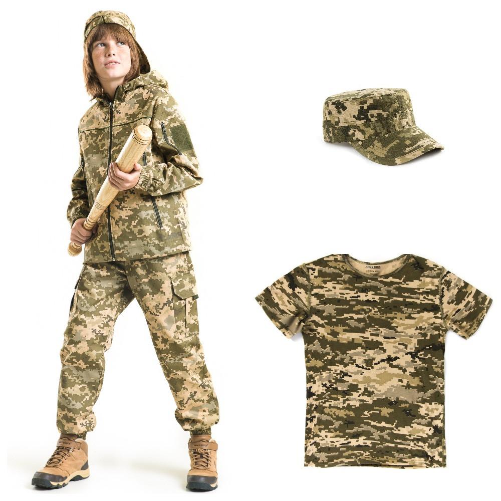 Детский камуфляж комплект Скаут костюм кепка футболка расцветка Пиксель.