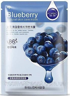 Тканевая маска для лица с черникой питательная для чувствительной кожи ROREC Blueberry (30г)