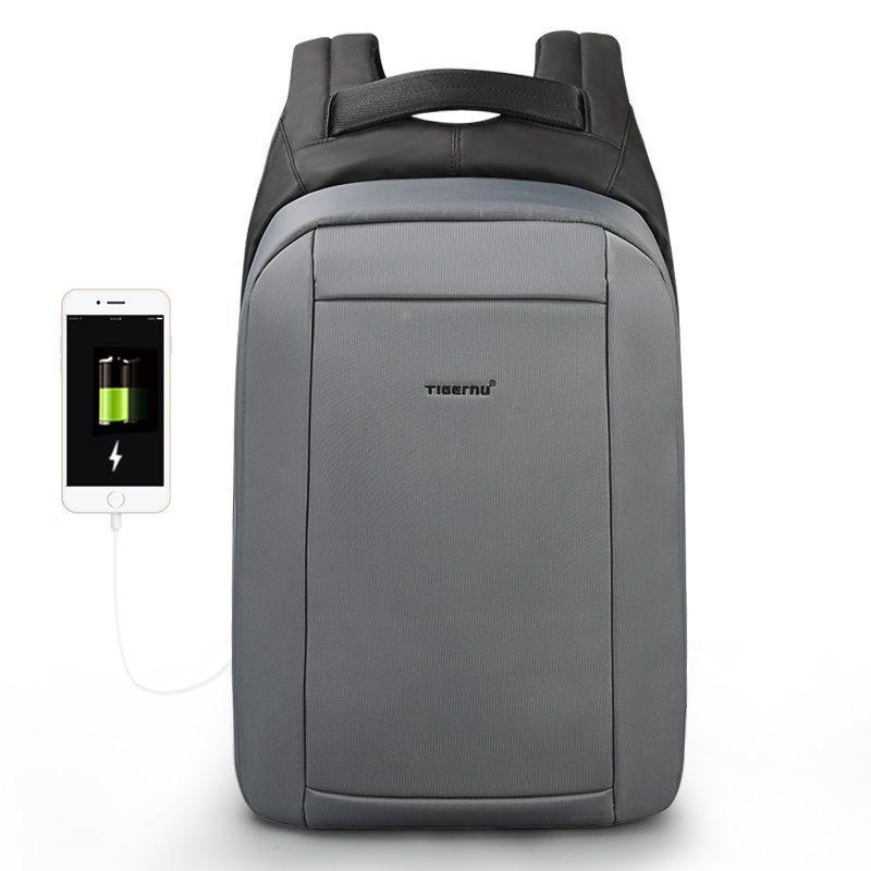 Брендовый водонепроницаемый мужской рюказак для ноутбука Tigernu T-B3599, темно-серый