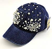 Детская бейсболка кепка с 50 по 54 размер детские бейсболки кепки летние для девочки джинс стразы, фото 1