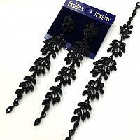 Браслет веточка с черными камнями в черном металле