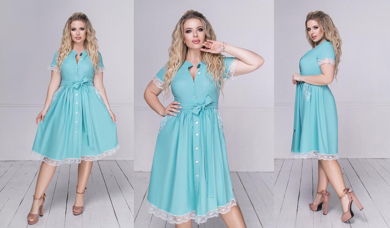 """Очаровательное нарядное женское платье в больших размерах 3074 """"Софт Клёш Миди Кружево"""" в расцветках"""