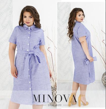 Женское платье-рубашка из льна цвет синий Размеры: 56, фото 2