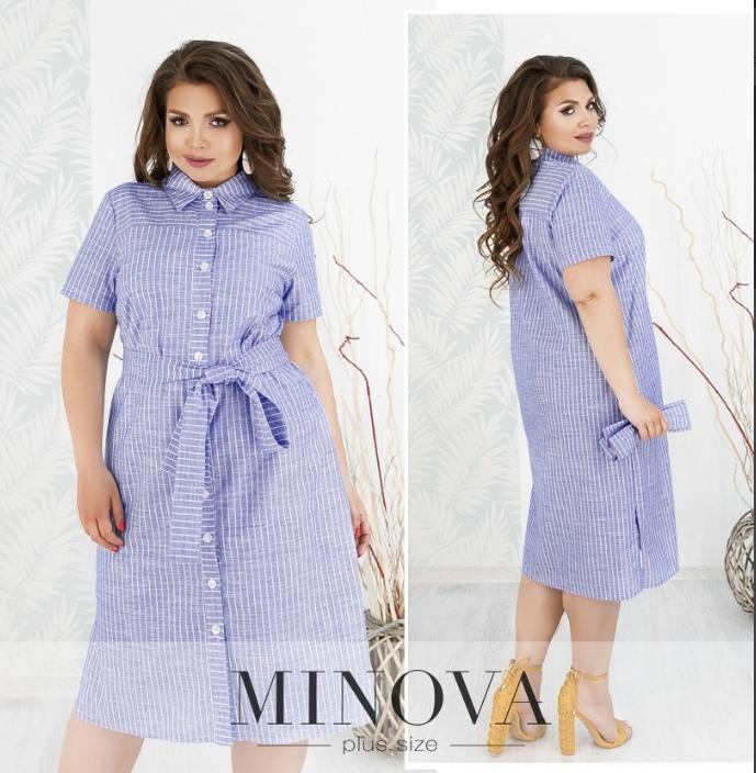 Женское платье-рубашка из льна цвет синий Размеры: 56
