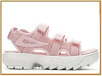 Стильные женские сандалии Fila Disruptor Sandal Pink White (босоножки фила дисраптор, розовые / белые)