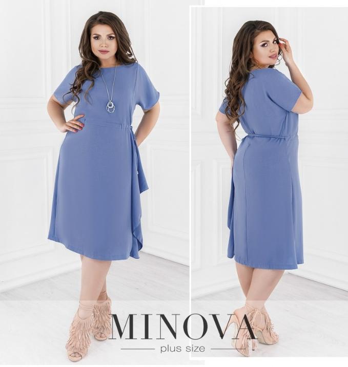 Летнее батальное платье большого размера Одесса цвет голубой Размеры: 48,52,54,56
