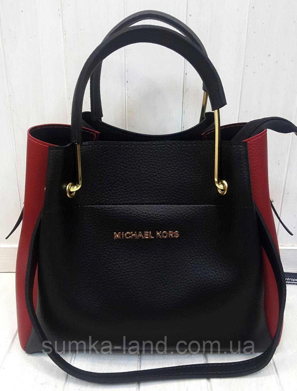 1ecc98e7ad7d Женская элитная сумка MK черная с красными боками 28*26 см, цена 356 ...